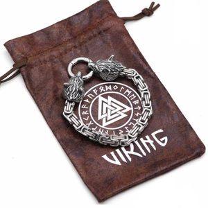 NWT Mens Viking Wolfs Head Chain Bracelet